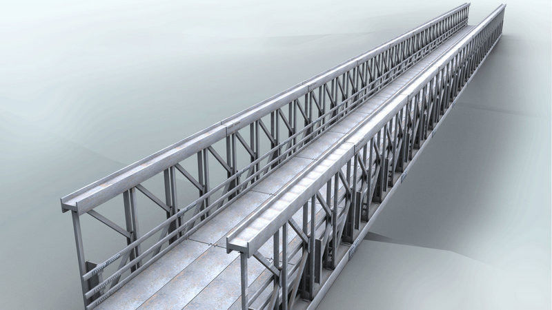 Delta Assembly Modular Steel Bridge Double Lane With Concrete Deck